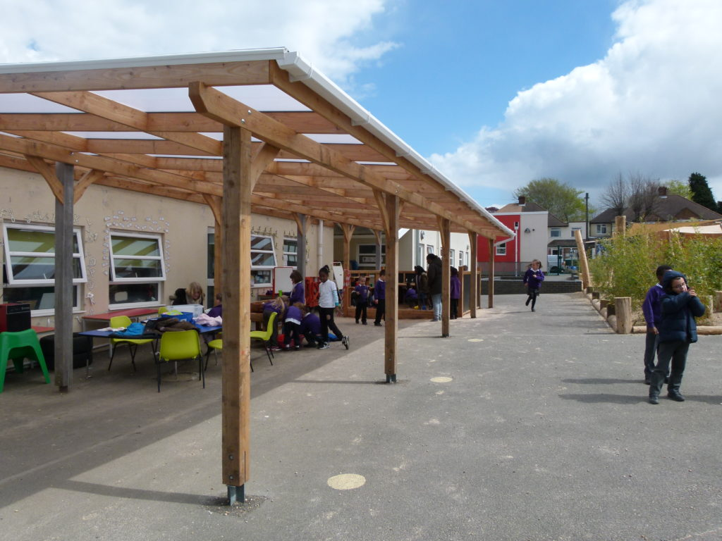 ... can be left open or enclosed with cladding and we can add guttering and down pipes to collect rain water for watering the garden or for playing with. & Bespoke Lean To Canopies - Green Play Project