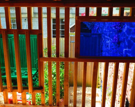 Coloured perspex windows - raised den