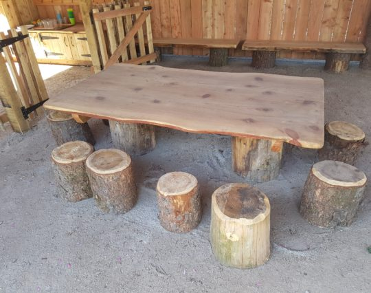early years table & chairs - rustic log seats - outdoor table - natural play